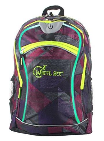 Schildkröt Funsports Wheel Bee Backpack mit Innovative Integriertem LED Licht Sowie Zusätzliche Reflektorstreifen Rucksack, Purple, 48 x 33 x 34 cm - 1