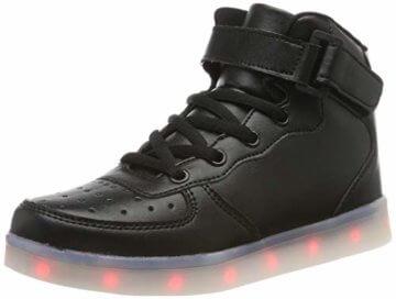 FLARUT Hoch Oben USB Aufladen LED Leuchtend Leuchtschuhe Blinkschuhe Sport Schuhe für Jungen Mädchen Kinder(37 EU,Schwarz) - 1