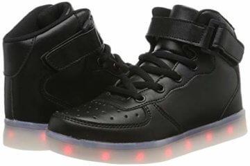 FLARUT Hoch Oben USB Aufladen LED Leuchtend Leuchtschuhe Blinkschuhe Sport Schuhe für Jungen Mädchen Kinder(37 EU,Schwarz) - 5