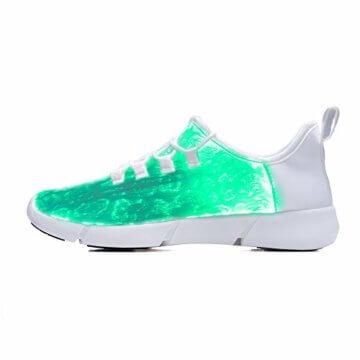 LED Laufschuhe Atmungsaktive Fabric Nacht Sportschuhe 7 Farben Leuchtende Schuhe Damen Herren mit USB Ladegerät Weiß 42 EU - 2