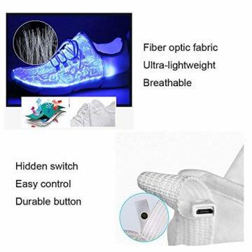 LED Laufschuhe Atmungsaktive Fabric Nacht Sportschuhe 7 Farben Leuchtende Schuhe Damen Herren mit USB Ladegerät Weiß 42 EU - 4