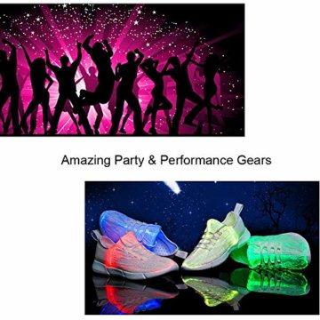LED Laufschuhe Atmungsaktive Fabric Nacht Sportschuhe 7 Farben Leuchtende Schuhe Damen Herren mit USB Ladegerät Weiß 42 EU - 5