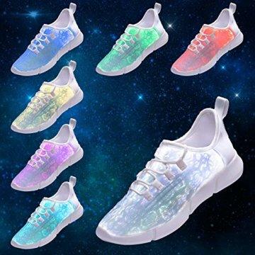 LED Laufschuhe Atmungsaktive Fabric Nacht Sportschuhe 7 Farben Leuchtende Schuhe Damen Herren mit USB Ladegerät Weiß 42 EU - 6