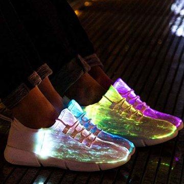 LED Laufschuhe Atmungsaktive Fabric Nacht Sportschuhe 7 Farben Leuchtende Schuhe Damen Herren mit USB Ladegerät Weiß 42 EU - 7
