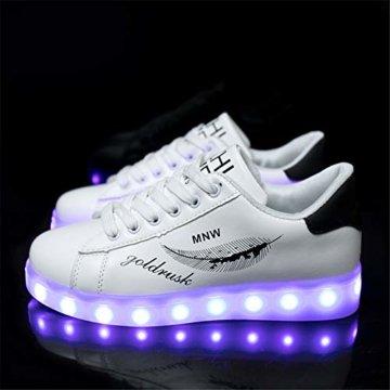 Lucky Kids Kinder Jungen Mädchen LED Schuhe Blinkende Leuchtschuhe Weiß 7 Farbe USB Aufladen LED Sportschuhe Farbwechsel Light up Low Top Sneaker Turnschuhe - 2