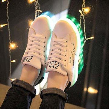 Lucky Kids Kinder Jungen Mädchen LED Schuhe Blinkende Leuchtschuhe Weiß 7 Farbe USB Aufladen LED Sportschuhe Farbwechsel Light up Low Top Sneaker Turnschuhe - 3
