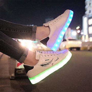 Lucky Kids Kinder Jungen Mädchen LED Schuhe Blinkende Leuchtschuhe Weiß 7 Farbe USB Aufladen LED Sportschuhe Farbwechsel Light up Low Top Sneaker Turnschuhe - 4