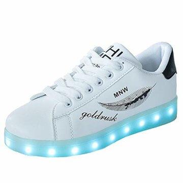 Lucky Kids Kinder Jungen Mädchen LED Schuhe Blinkende Leuchtschuhe Weiß 7 Farbe USB Aufladen LED Sportschuhe Farbwechsel Light up Low Top Sneaker Turnschuhe - 1