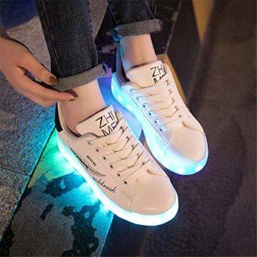 Lucky Kids Kinder Jungen Mädchen LED Schuhe Blinkende Leuchtschuhe Weiß 7 Farbe USB Aufladen LED Sportschuhe Farbwechsel Light up Low Top Sneaker Turnschuhe - 5