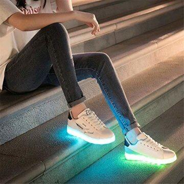 Lucky Kids Kinder Jungen Mädchen LED Schuhe Blinkende Leuchtschuhe Weiß 7 Farbe USB Aufladen LED Sportschuhe Farbwechsel Light up Low Top Sneaker Turnschuhe - 6
