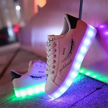 Lucky Kids Kinder Jungen Mädchen LED Schuhe Blinkende Leuchtschuhe Weiß 7 Farbe USB Aufladen LED Sportschuhe Farbwechsel Light up Low Top Sneaker Turnschuhe - 7