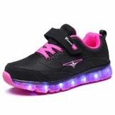 Ufatansy LED Sportschuhe für Kinder USB Aufladen Blinkschuhe Mädchen Jungen Sneakers (EU31, D- Black Pink) - 1